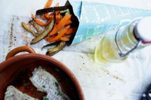 oranje frites met vis